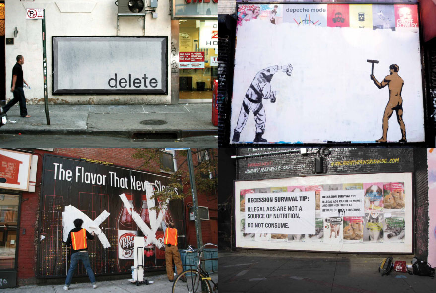 NY Street Advertising Takeover SpontaneousInterventions - Street advertising