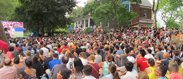 World Cup 2014 crowd at S.I. on Governors Island